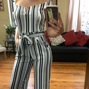 Strip culotte jumpsuit